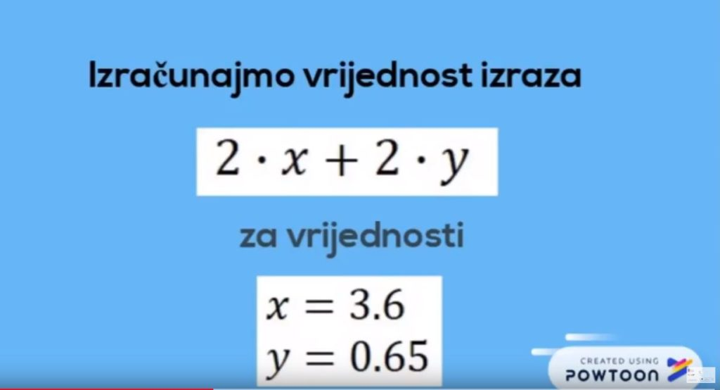 Vrijednost algebarskog izraza