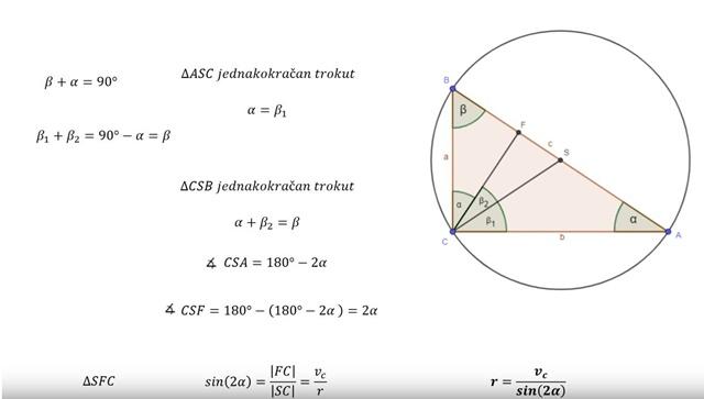 Polumjer pravokutnom trokutu opisane kružnice
