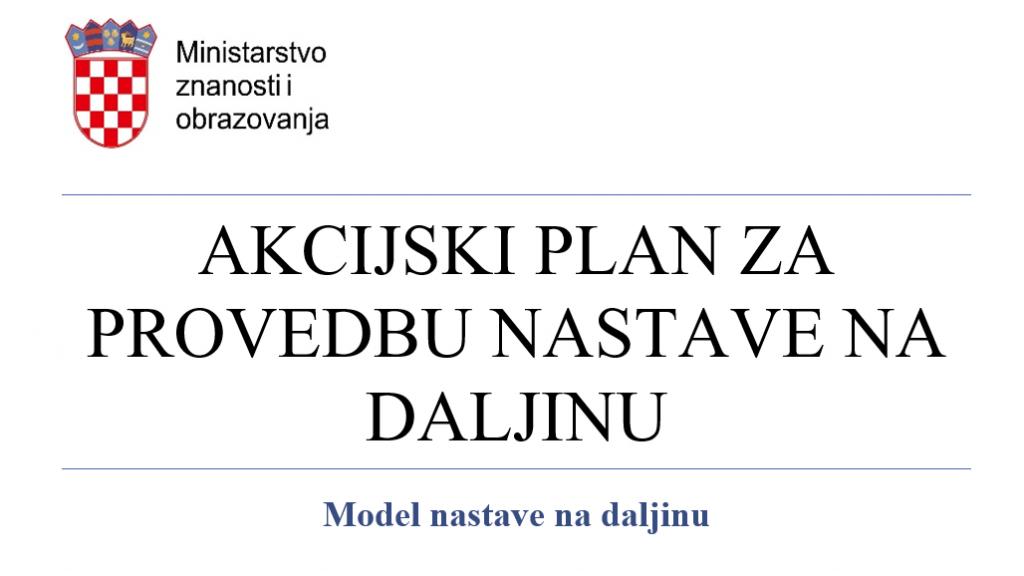 Akcijski plan za provedbu nastave na daljinu