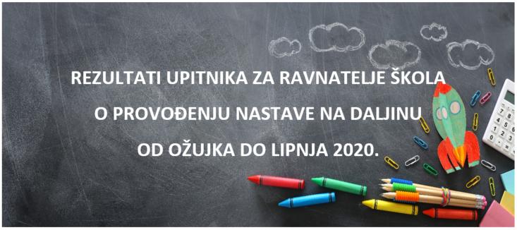 Rezultati upitnika za ravnatelje škola o provođenju nastave na daljinu od ožujka do lipnja 2020.